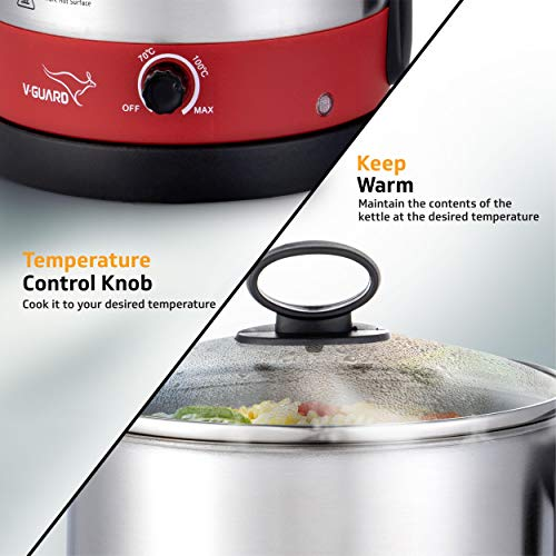 Best V-Guard VKM12 Steel Multi-Purpose Cooker Red